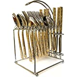 Premium Quality Exclusive Hi-Luxe Designer 24 Pieces Cutlery Set 304 Grade Stainless Steel 18/10 Stainless Steel Spoon Set