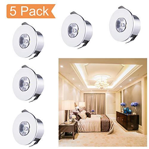 QYHOME Mini LED Einbaustrahler Set,5X 1W Warmweiß LED Deckeneinbaustrahler Schwenkbar COB Deckenspots Aluminium LED [Energieklasse A+++] -