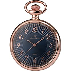 KS Men Women Pocket Watch Open face Series Analog Japanese Quartz Alloy Case Chain KSP057