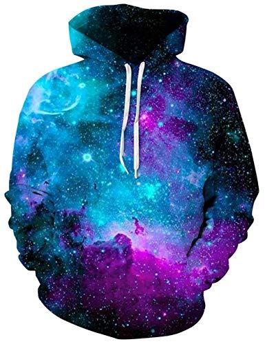 ALISISTER 3D Galaxy Hoodies für Herren Damen Cool Gedruckt Drawstring Taschen Kapuzenpullover Männer Hooded Sweatshirt S/M -