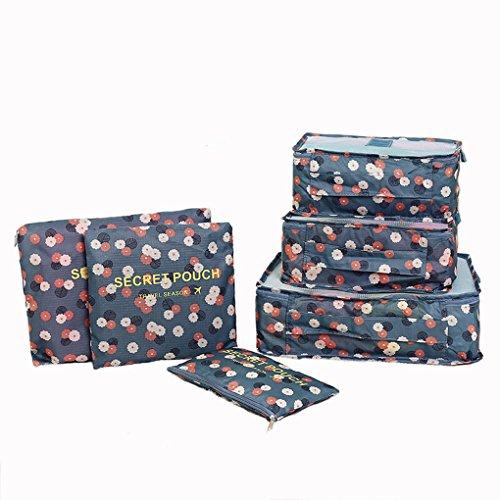 6er Set Packtaschen Kofferorganizer Reisetasche Beutel Kleidertasche Kulturtasche Schuhtasche Blümchen Koffer Organizer Aufbewahrungstasche aus Nylon Bluchen HELLBLAU