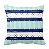 Linkla Danniol Personalized 18X18 Inch Square Cotton Pillowcases Aqua Navy Blue Stripes and Polka Dots Pattern Pillow Cover