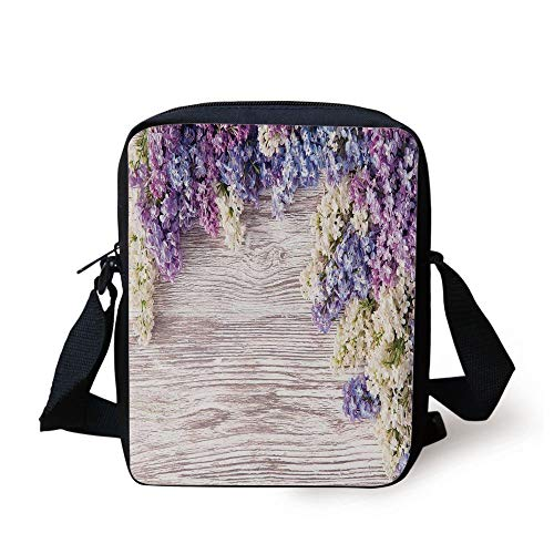 Rustic,Lilac Flowers Bouquet on Wood Table Spring Nature Romance Love Theme,Lilac Violet Dark Taupe Print Kids Crossbody Messenger Bag Purse China Spring Bouquet