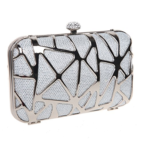 Bonjanvye Special Water Cube Box Evening Clutches Purses for Girls Purple Silver