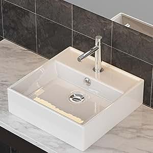 waschbecken24 design keramik aufsatzwaschbecken waschtisch wandmontage f r badezimmer g ste wc. Black Bedroom Furniture Sets. Home Design Ideas
