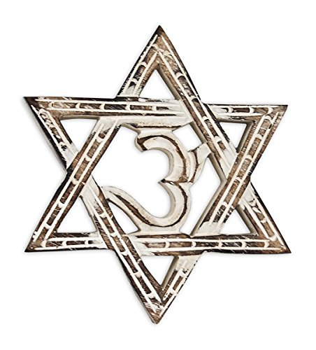 Wanddeko Om Hexagramm Symbol aus Holz Mangoholz braun weiß, 17,5cm, Wanddekoration Wandsymbol Kraftsymbol Aum Sanskrit