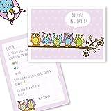10 niedliche EULEN Einladungskarten zum Kindergeburtstag für Mädchen / Einladung Eulen