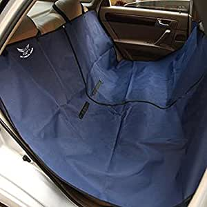 Dog Car Seat Cover - Back Seat Bench Covers Hammock Style Keep Pets Safe In Sudden Stops - Passenger Can Use Rear Seat And Belts - Navy Blue 58in X 57in Easy To Install & Fits Most Vehicles - Protect Upholstery From Pet Hair Claws and Slobber - Waterproof