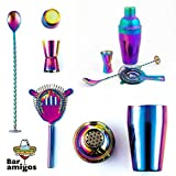 Rainbow Cocktail Shaker Set By Bar Amigos® - Colourful Iridescent 5-piece Gift Set Includes Shaker 500ml, Bar Spoon, Muddler, Double Jigger and Hawthorne Strainer   304 Steel   Dishwasher Safe