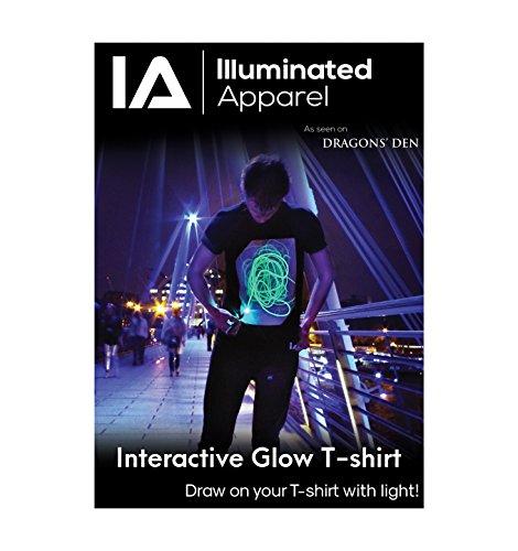 Interaktive Leucht T-Shirt (Schwarz/Grün, L)
