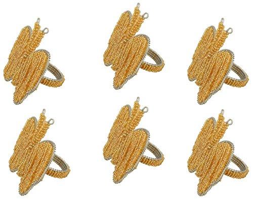 Gelber Schmetterling Ring (Handgemachte Schmetterling wulstige Serviettenringe Set von 6, Braun, Gelb,)