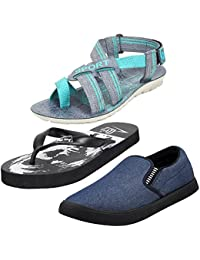 Earton Multicolor Men Combo Pack of 3 Sandals & Floaters with Loafers Shoe and Flip-Flops