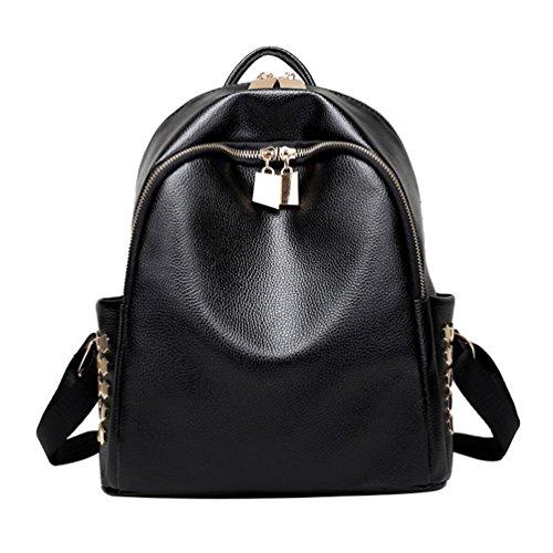 CHENGYANG Donna Cool Zaino Mini Semplice Rivet Zainetto Borsa Casual Bag Nero