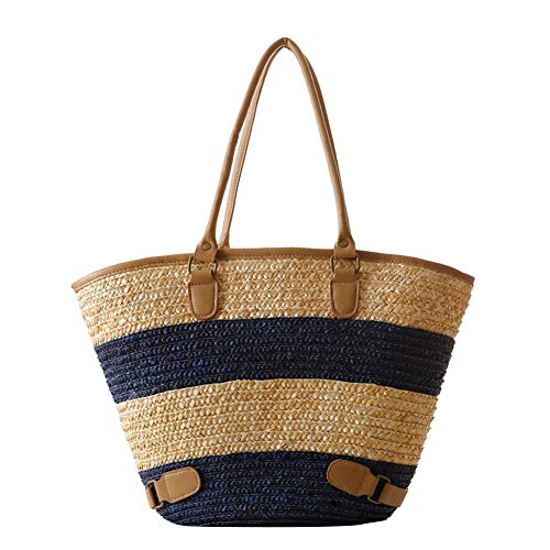 Blau Stroh Handtaschen (DaoRier Strandtasche aus Stroh Damen Handtasche Sommer Schulter Tragetasche Reisetasche Taschen (Blau))
