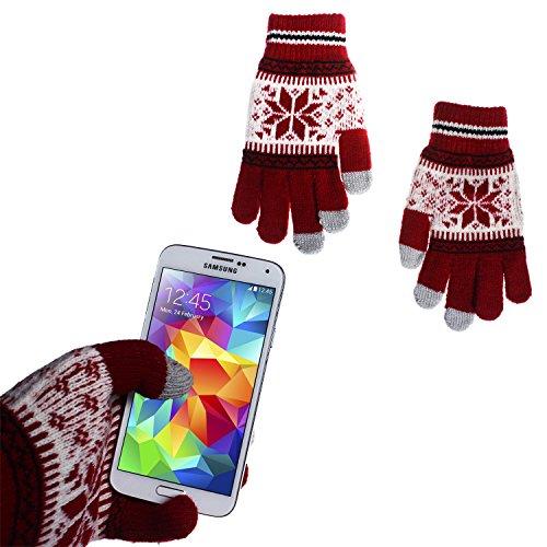 wortek Touchscreen Handschuhe mit Flockenmuster in Rot/Weiß in -