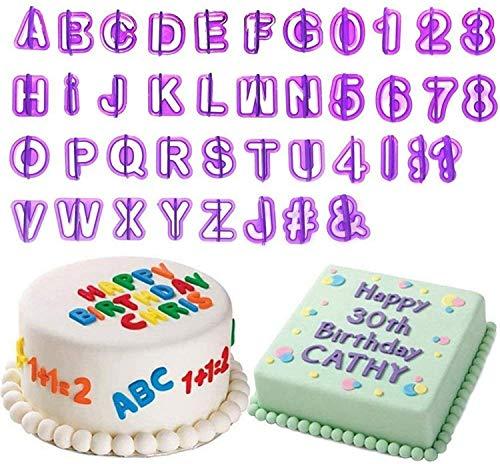 BEIAOSU 40tlg Ausstecher Buchstaben Fondant Ausstechformen Alphabet Zahlen Zeichensetzung Tortendeko Geeignet für Anfänger und Profis