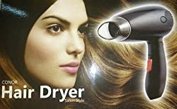 Krevia Conor Hair Dryer Salon style Foldable handle 2 speed Heating (Color : Black )
