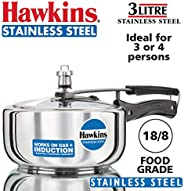 Hawkins Induction Compatible Base Pressure Cooker, Silver, 3 Liters, Stainless Steel