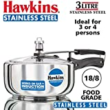 Hawkins - B60 Stainless Steel Wide Pressure Cooker, 3 Litres, Silver