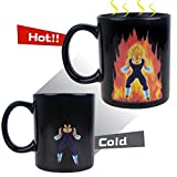 Dragon Ball Z Vegeta Hitze Reactive Becher, Makion Comic Mode Farbwechsel Keramik wärmeempfindliche Schale für heiße Kaffee-Tee Milch 300ML