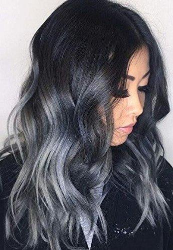 Sunny extension clip capelli veri, ombre nero naturale a blu grigio 7 pezzi testa piena - extension ombre clip in capelli 100% remy capelli umani lisci 120g 50cm