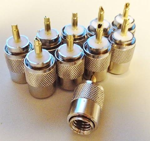 10 X Bidatong PL-Stecker mit Goldstift PL-259/9 für RG-213 - 1,59 € / Stck.
