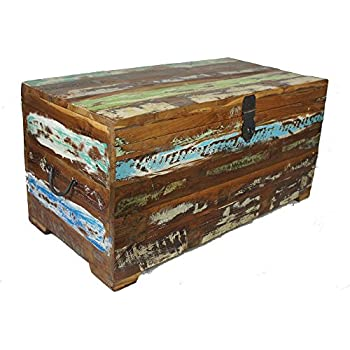 Vintage Teak Wood Distressed Painted Big Chest Coffee Table Shabby Chic