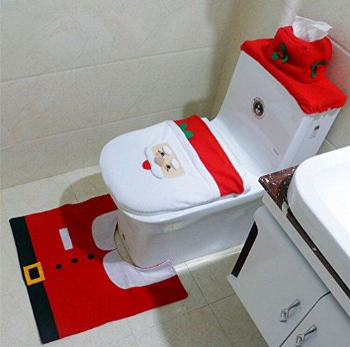 Set di 1pupazzo di neve copriwater copertura tappetino scatola del tessuto bagno Set decorazione di Natale Decor, Red, Santa Claus