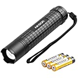 LED Torch, AKSOR Adjustable Focus Pocket Flashlight, Super Bright CREE LED Torch Zoomable Lantern with IP65 Waterproof 3 Lighting modes for Camping Outdoors, Battery Included (K10, Black)