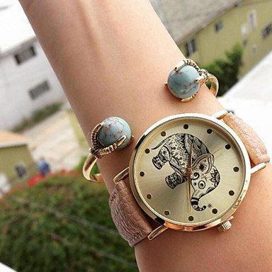 XKC-watches Relojes de Mujer, Damas Moda Mujer Ocio Miran Estudiantes Reloj Elefante Reloj de Cuarzo Reloj Unisex para un Regalo (Color : Rosa, Talla : para Mujer-Una Talla)