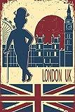 Postereck Poster 0809 - Vintage Plakat London UK, England Big Ben Flagge alt Größe DIN - A4-21.0 cm x 29.7 cm