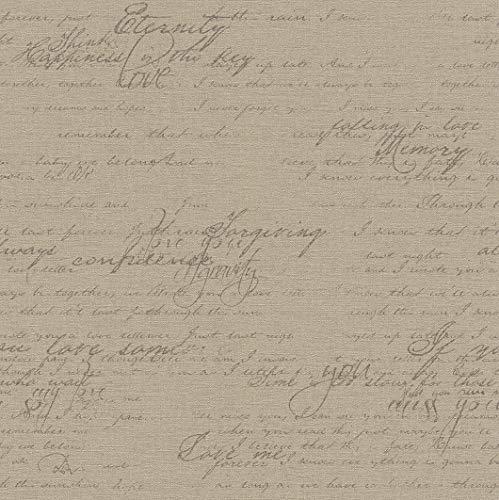 rasch Tapete 449570 aus der Kollektion Florentine II – Vliestapete in Braun mit dunkler, kalligraphischer Schrift im Vintage Stil – 10,05m x 53cm (L x B)