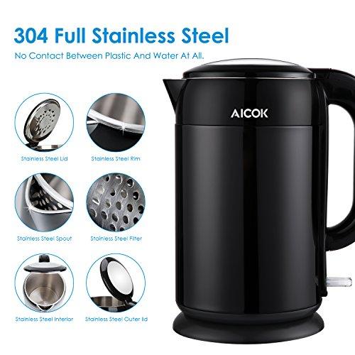Aicok-Hervidor-De-Agua-Elctrico-Tetera-Elctrica-de-acero-inoxidable-pulido-Doble-Pared-Para-Anti-Escaldadura-Libre-De-BPA-17-Litros-2200-Watios-Negro