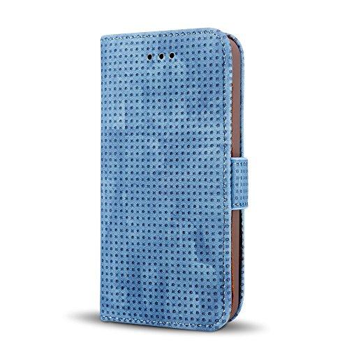 JIALUN-Telefon Fall Retro Matte Breatheable Air-Mesh PU Leder Brieftasche Case Cover mit Kickstand Card Slots für iPhone 5 5s und SE ( Color : Yellow ) Blue