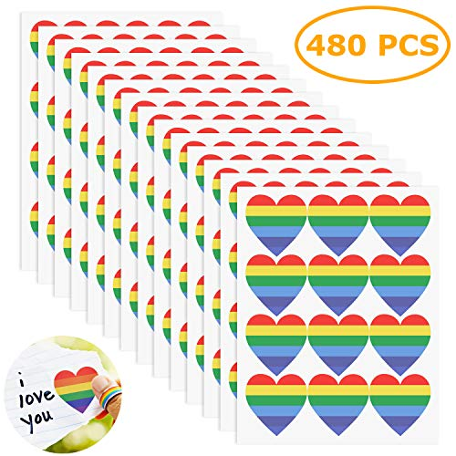 e919f7ea6373c TADAE 480 Pieces Gay Pride Stickers Rainbow Color Stickers, Heart Shaped,12  Sheets