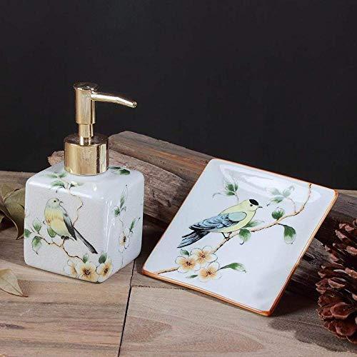 xy Zweiteilige Europäischen Stil Keramik Handwaschflasche Chinesische Kreative Duschgel Flasche Hotel Schönheitssalon Flasche Seifenschale,A,Einheitsgröße