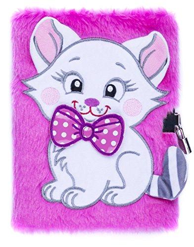 FRINGOO, agenda di peluche 3D per ragazzi e ragazze, formato A5, con lucchetto e segnalibro, design a forma di tenero unicorno, 80 pagine (lingua italiana non garantita) A5 Pink Cat