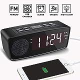 Alarm Clock, LED Digital FM Radio Clock with Dual USB Charging Ports, Dimmer