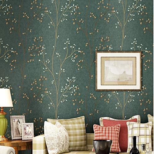 Zhaorll vintage verde scuro non tessuto carta da parati soggiorno camera da letto tv sfondo muro idilliaco fogliame carta da parati non autoadesivo 53cm * 10m,a