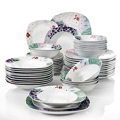 Veweet OLINA 48pcs Service de Table Pocelaine 12pcs Assiettes Plates 24,6cm, Assiette Creuse 21,5cm, Assiette à Dessert 19cm, Bols à Céréales 17cm Vaisselles pour 12 Personnes Fleuri Cadeau Fête