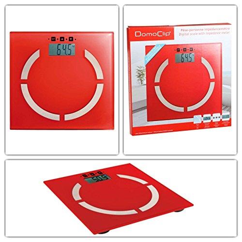 Digitale Analyse-Personenwaage in rot (Analyse-Waage, Körperfett-Anteil, BMI-Rechner, 100 gr-Schritten, 2 bis 180 kg, LCD-Anzeige, Akku-Ladeanzeige, Speicherung für 10 Personen)