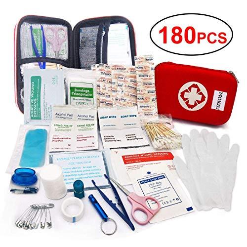 MOKIU 180pcs Trousse de Premier Secours Mode d'emploi en français Voiture Boitier Rouge Semi-Rigide Mini Box Sac d'urgence Médical...