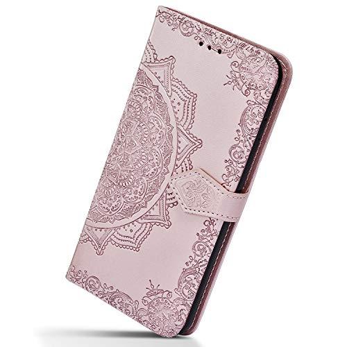 Herbests Kompatibel mit Samsung Galaxy S10e Handyhülle Handytasche Lederhülle Luxus Mandala Blumen Muster Flip Hülle Leder Klapphülle Ledertasche Bookstyle Cover Brieftasche Schutzhülle,Grün