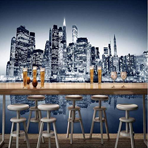 Pbbzl Wallpaper 3D Benutzerdefinierte New York City Moderne Hochhaus Fotografie Hintergrund Wallpaper Restaurant Bar Einkaufszentrum Wandbild400X280Cm