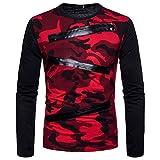 SANFASHION Herren Pullover Langarm Reißverschluss Streetwear Camouflage Casual Anzüge Shirts Bluse Top
