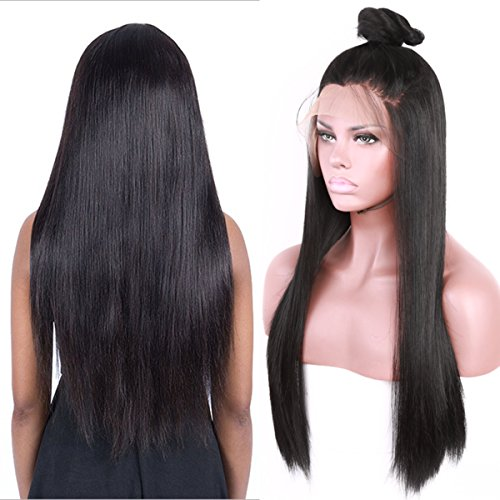 Fureya Hair Synthetic Hair Lace Front Wig for Women Straight Pre Plucked Hairline with Baby Hair Natural Color 26 inch Lace Wigs (Yaki Lace Front Perücken)