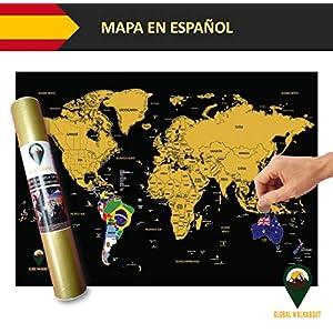 Global Walkabout ESPAÑOL – Mapa De Raspaditos Con Fondo De Banderas – Cartel De Lujo Del Mapa Mundial – Países Y Hechos – Regalo De Viaje – RECORRIDO MUNDIAL