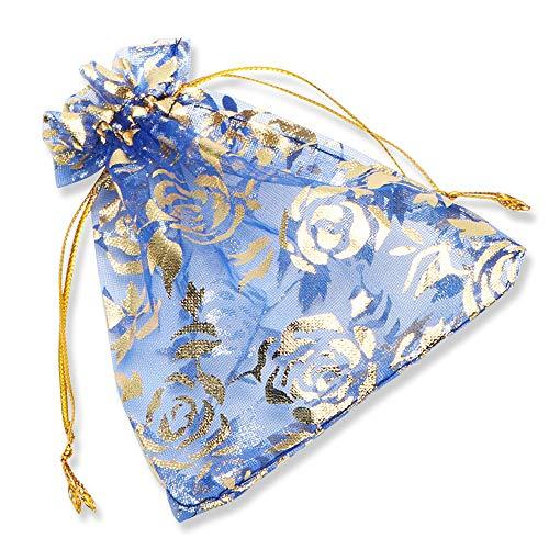 Yfzyt 100 pezzi trasparente organza bag sacchetti bustine, organza bags sacchettino sacchetto coulisse porta sacchettini di matrimonio borse gioielli sacchetto di caramelle - 13x18 cm, blu reale
