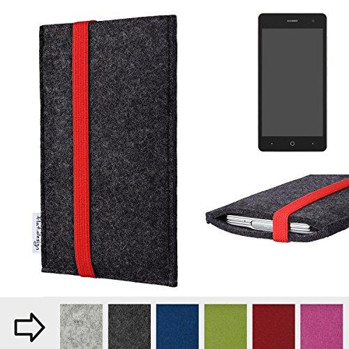 Handy Hülle Coimbra mit Gummiband-Verschluss für ZTE Blade L7 - Schutz Case Smartphone Etui Filz Made in Germany in anthrazit rot - passgenaue Handytasche für ZTE Blade L7