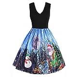 Xmiral Weihnachten Kleid Damen Fashion Ärmel Schnee Weihnachten Print Vintage Flare-Kleider (M,Blau)